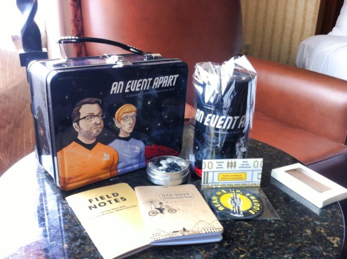 The swag: Star Treak themed lunchbox and thermos. Along with assorted stickers.